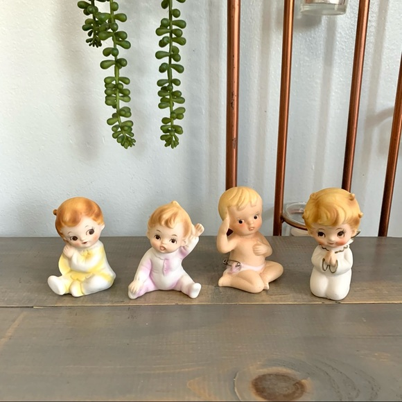 Vintage Ceramic Baby Figurines Lot of Four